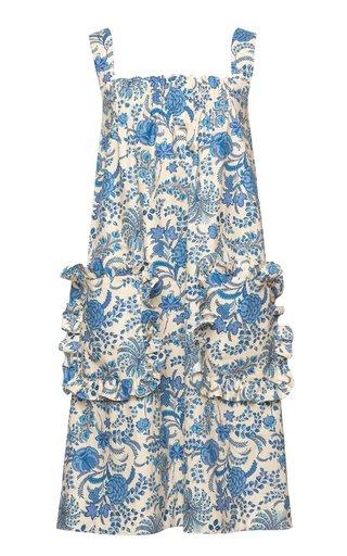 Amusement Ruffled Printed Cotton Shift Dress