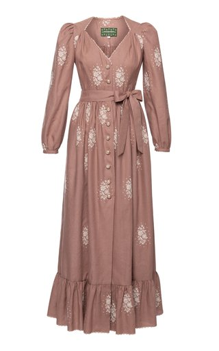 Margarethe Embroidered Linen-Cotton Maxi Dress