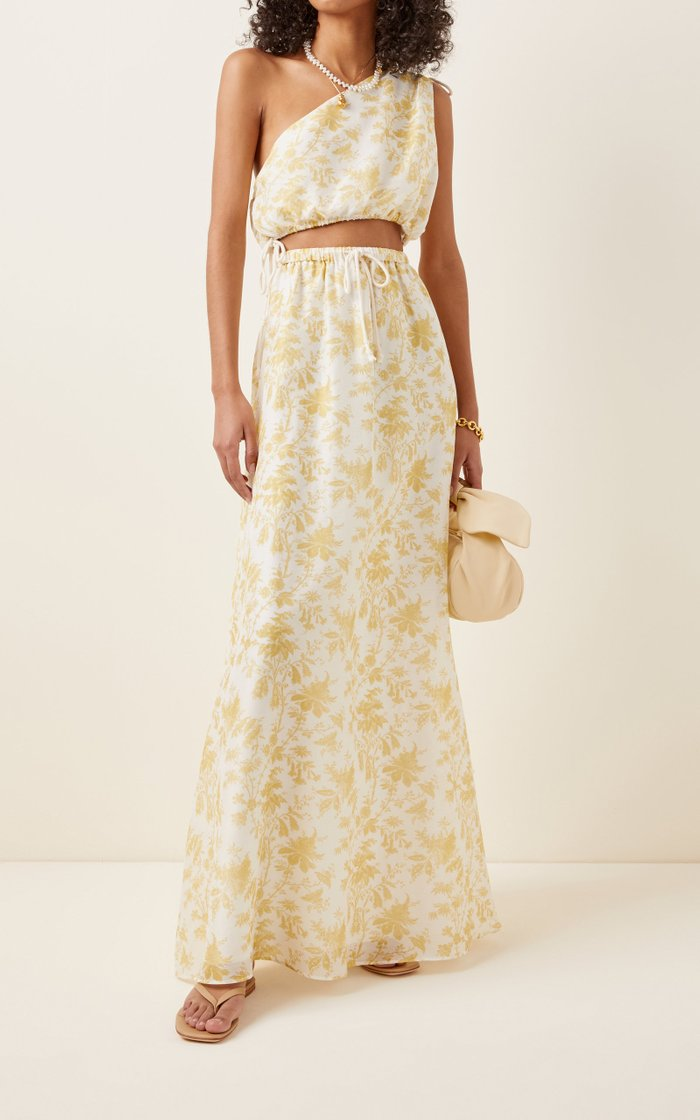 Clementine Printed Cotton-Silk Drawstring Maxi Skirt