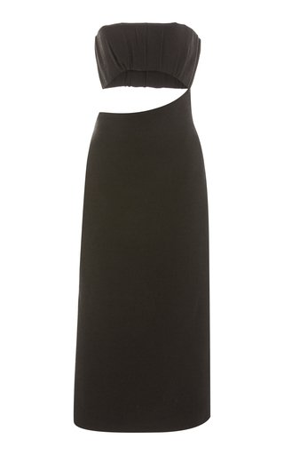 Yves Cutout Cotton-Blend Strapless Midi Dress