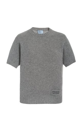 Wool-Cashmere Knit Logo Tee
