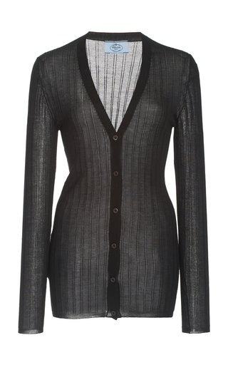 Ribbed Silk-Cashmere Knit Cardigan