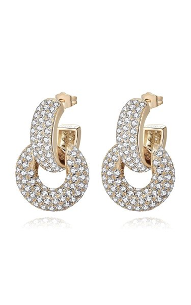 Bella Convertible Crystal-Embellished 14K Gold-Plated Earrings
