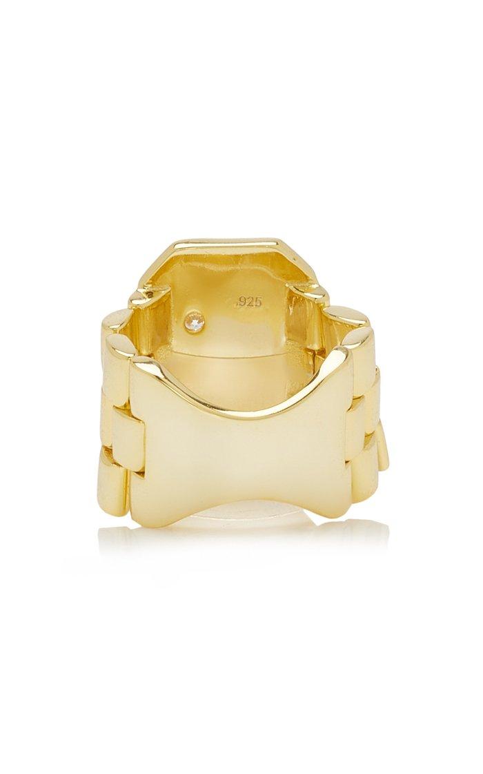 Kaven Crystal-Embellished 14K Gold-Plated Ring