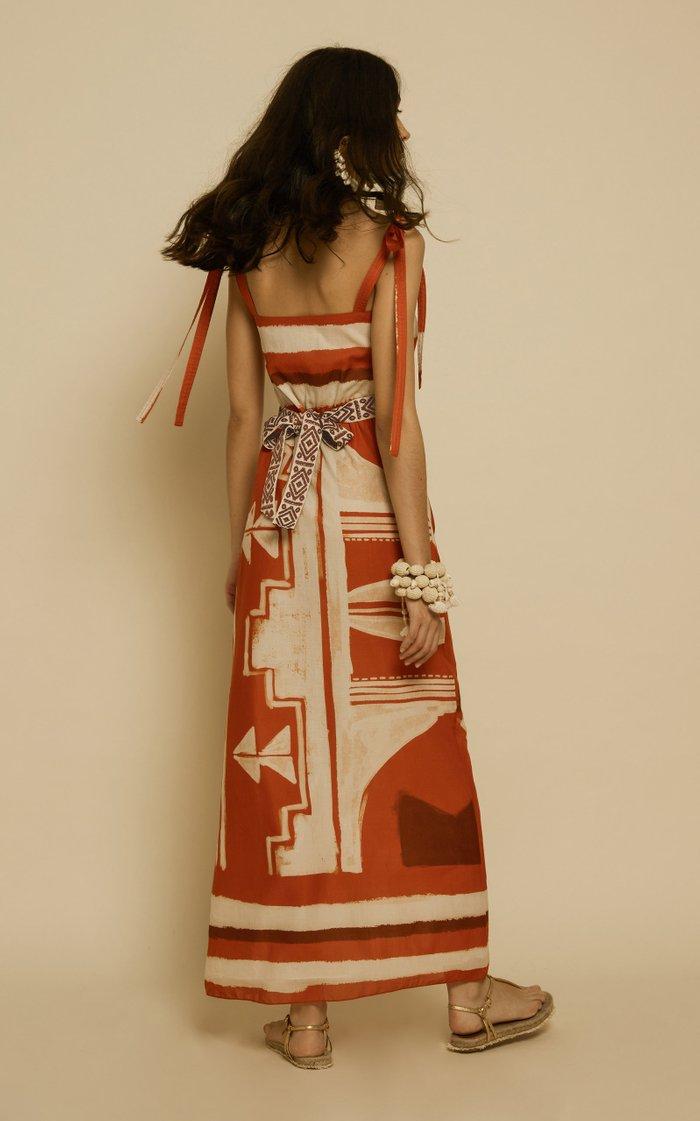 Regions Of Myth Printed Cotton Maxi Dress