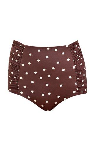 Volcano Ruched Polka-Dot High-Waist Bikini Bottom