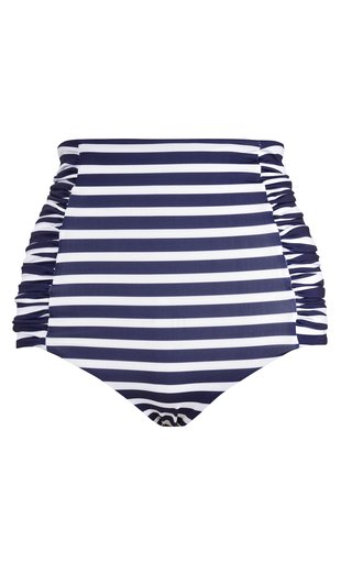 Migrate South Ruched Striped High-Waist Bikini Bottom