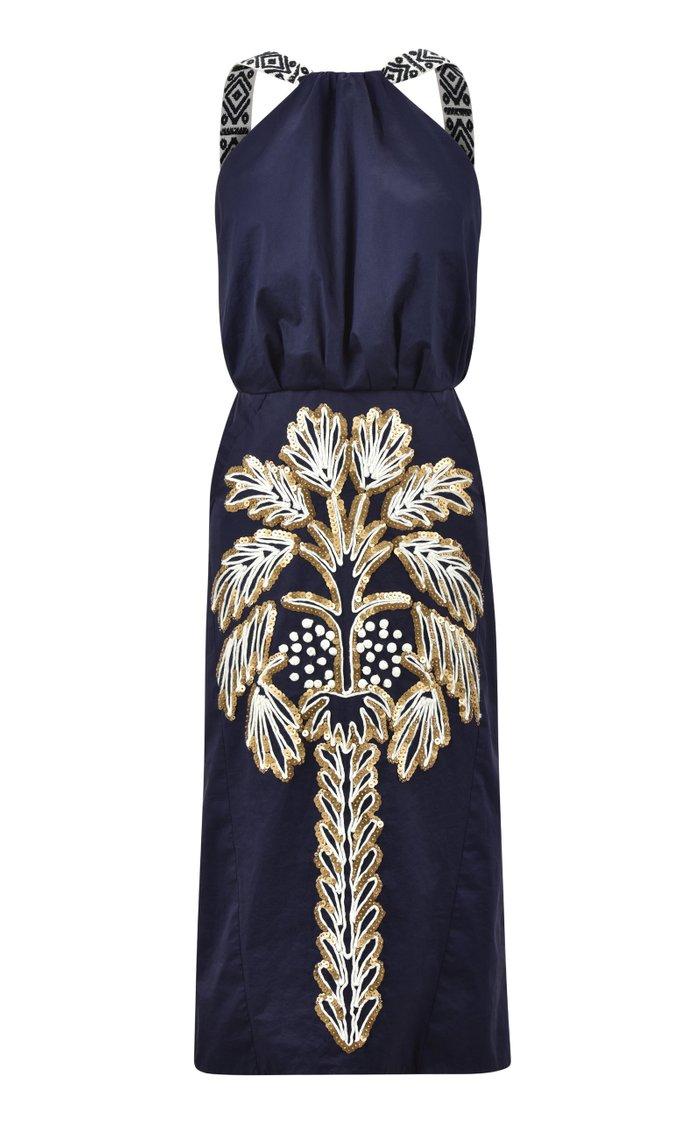 Angosturas Embroidered Cotton Midi Dress