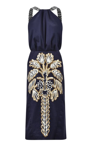 Angosturas Embroidered Cotton Midi Dress