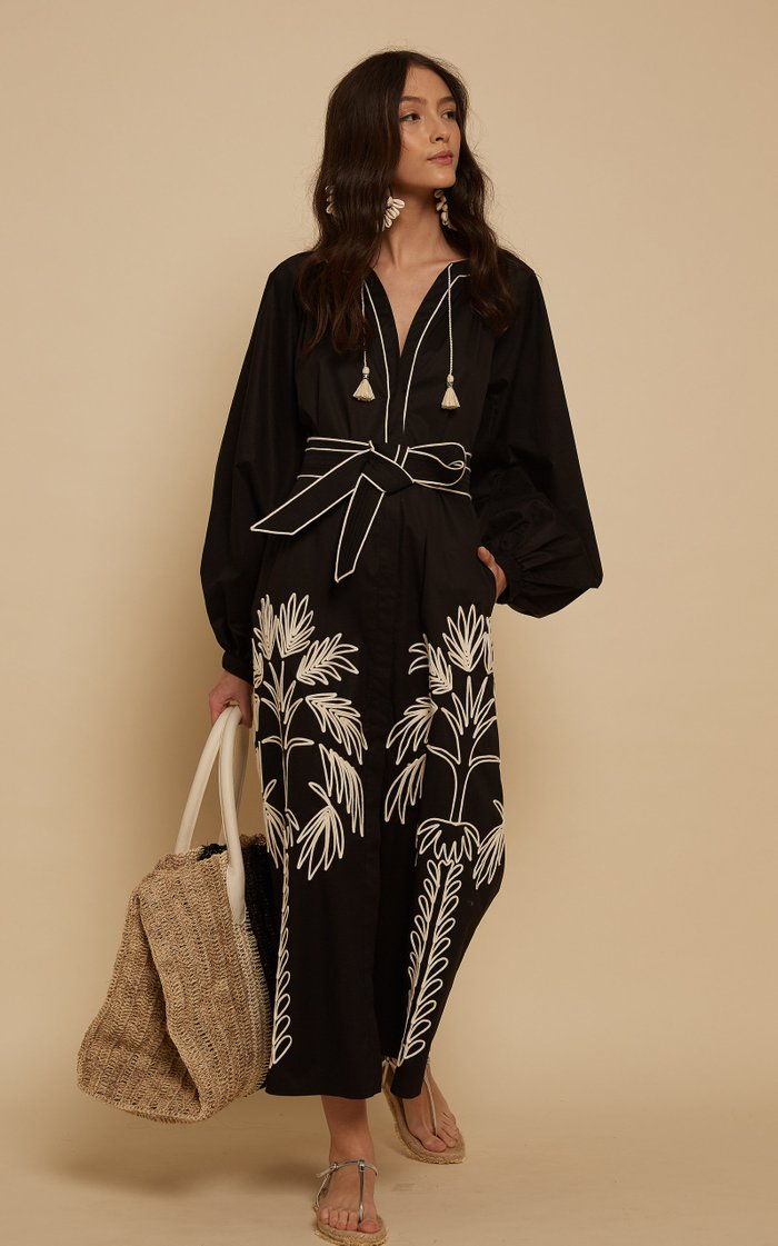 Real Expedition Embroidered Cotton Midi Dress