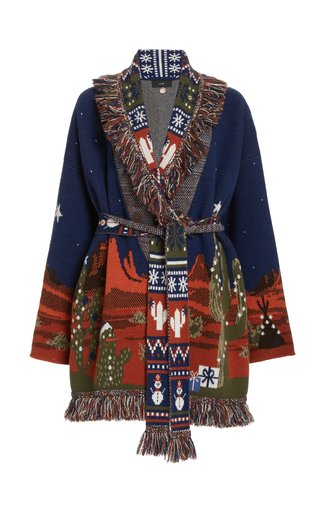 West Xmas Eve Lanscape Wool-Cashmere Knit Cardigan