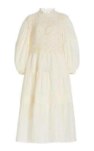 Zandra Crochet-Detailed Cotton-Blend Midi Dress