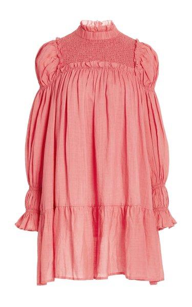 Hattie Smocked Cotton-Ramie Mini Dress