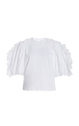 Elodie Lace-Trimmed Cotton Top