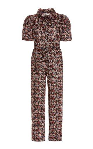 Leslie Tie-Neck Liberty-Print Cotton Jumpsuit