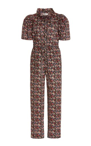 Leslie Tie-Neck Liberty-Print Cotton Jumpsuit