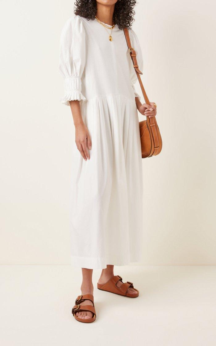 Karla Pleated Cotton-Poplin Midi Dress
