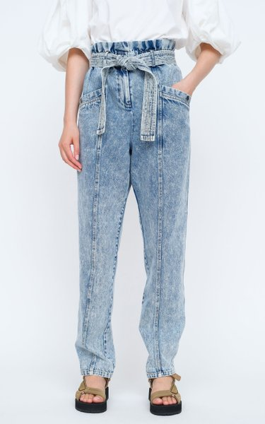 Betty Paper-Bag Acid-Washed Rigid High-Rise Straight-Leg Jeans