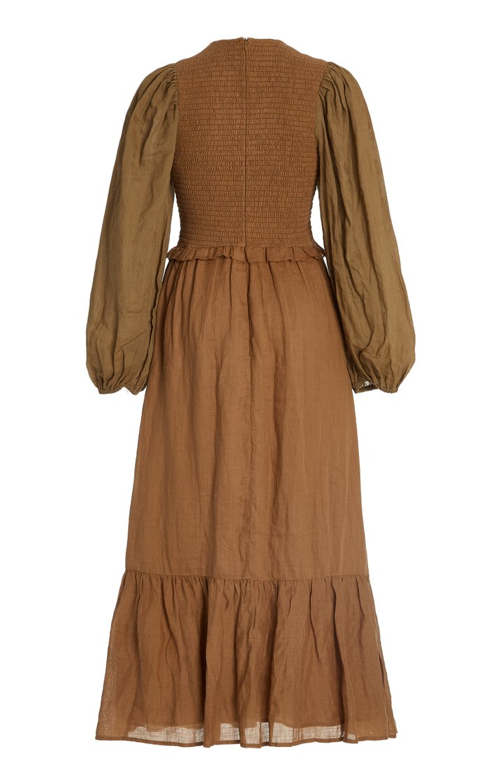 Hattie Smocked Cotton-Ramie Midi Dress