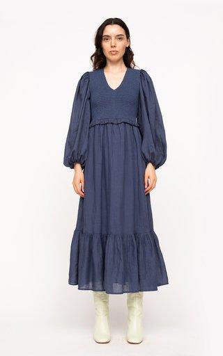 Hattie Smocked Cotton-Ramie Midi Dress