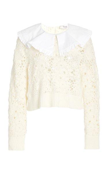 Zandra Cropped Crochet-Knit Top