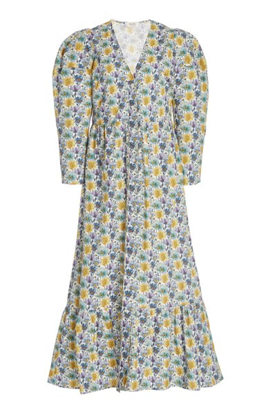 Leslie Printed Cotton Midi Dress