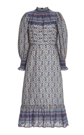 Verbena Printed Cotton-Blend Midi Dress