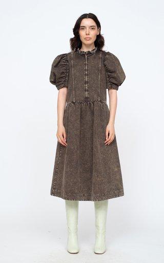 Hildur Puff-Sleeve Acid-Washed Cotton Midi Dress