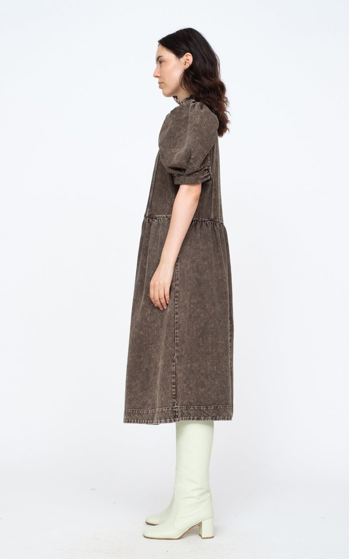 Hildur Puff-Sleeve Acid-Washed Cotton Midi Dress