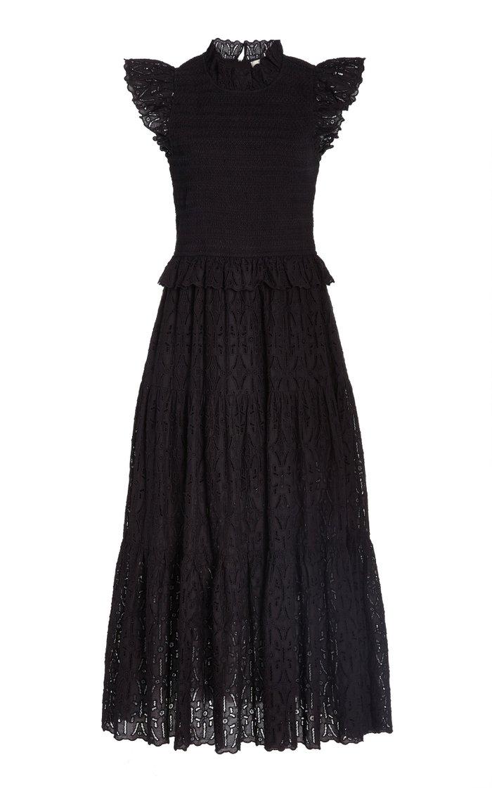 Ingrid Embroidered-Eyelet Cotton Midi Dress