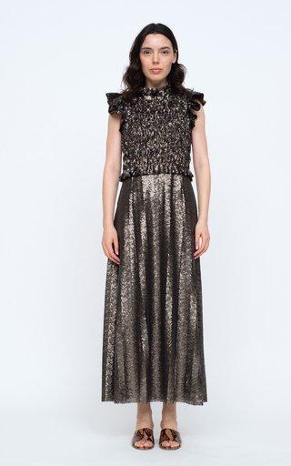 Rachelle Smocked Sequined Midi Dress