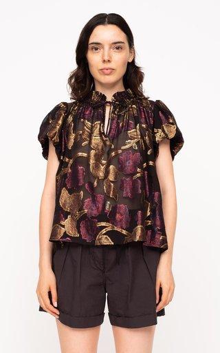 Leandra Metallic-Jacquard Silk Chiffon Top