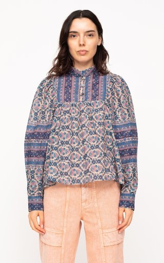 Verbena Puff-Sleeve Printed Cotton-Blend Top