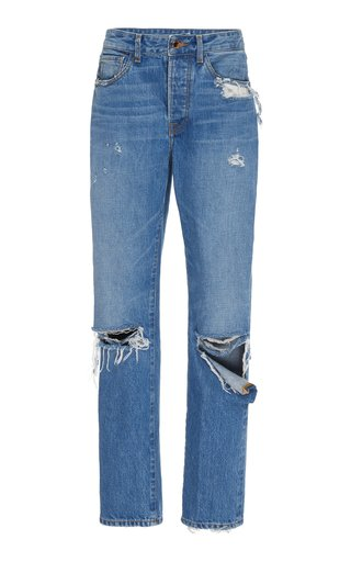 SpecialOrder-Distressed High-Rise Boyfriend Jeans-CM