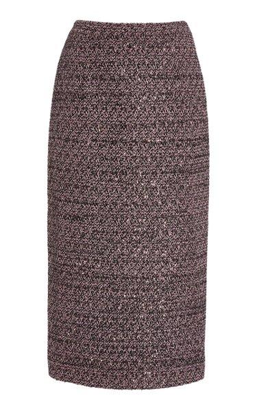 Sequined Tweed Midi Pencil Skirt