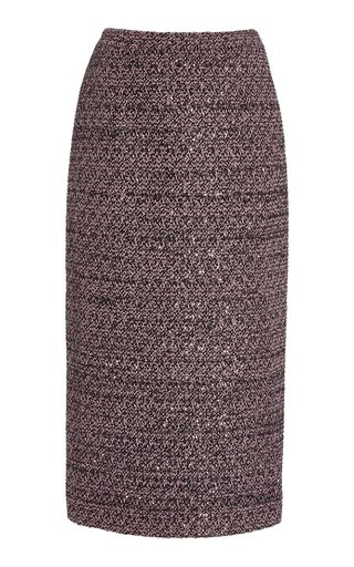Sequined Tweed Midi Pencil Skirt