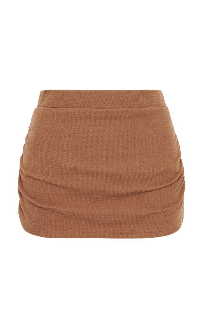 Ruched Textured-Knit Shorts