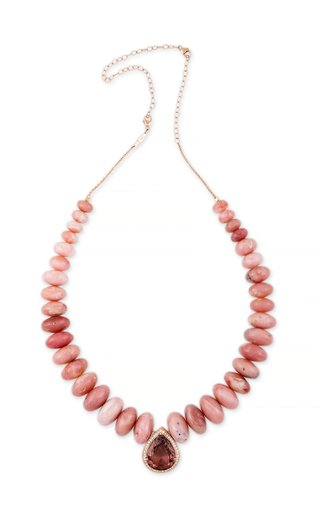 14K Rose Gold Pink Tourmaline Teardrop and Pink Opal Graduated Beaded Necklace