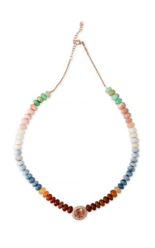 14K Rose Gold Tourmaline and Multi Color Opal Beaded Necklace