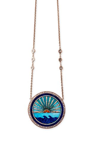 14K Rose Gold Sunshine Opal Inlay Necklace