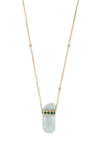 14K Yellow Gold Aquamarine Crystal Smooth Bar Necklace