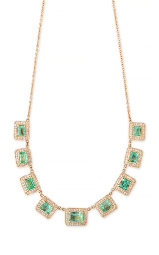 14K Yellow Gold Baguette Emerald Necklace