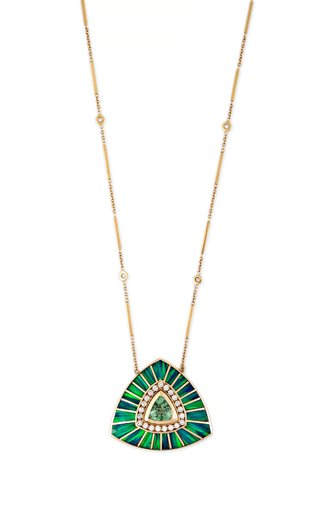 14K Yellow Gold Large Green Tourmaline and Opal Inlay Vortex Necklace