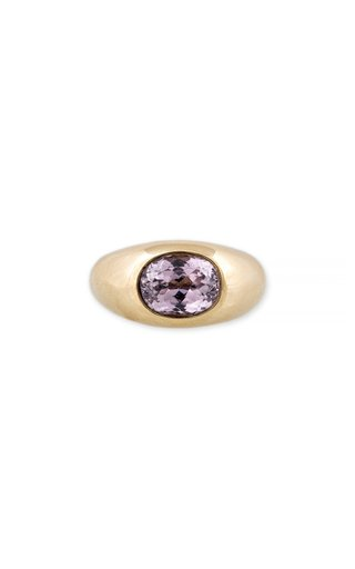 14K Yellow Gold Oval Kunzite Dome Ring