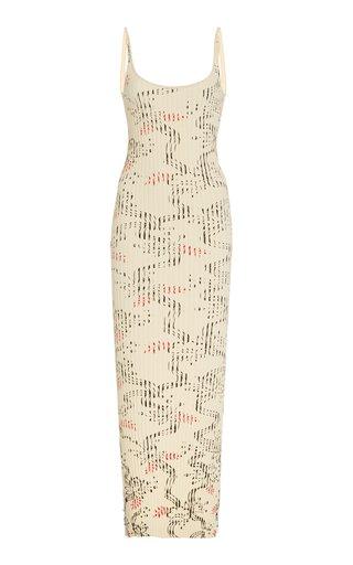 Printed Ribbed Cotton Maxi Dress