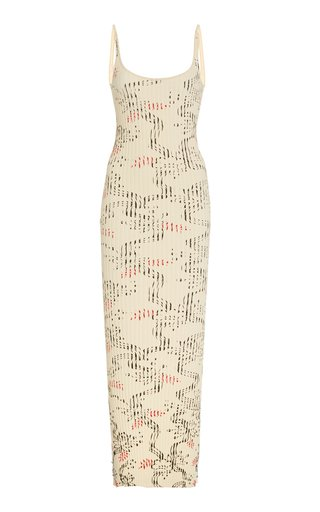 Printed Ribbed Cotton Maxi Dress