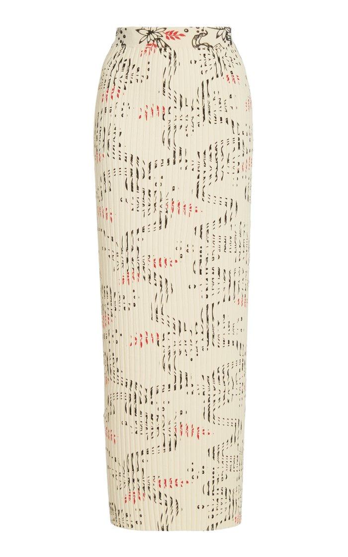 Jupe Printed Ribbed Cotton Midi Skirt
