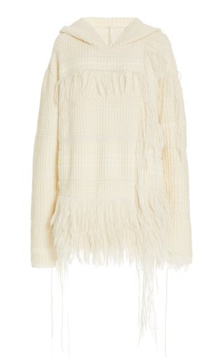 Baja Fringed Mixed-Knit Cashmere-Silk Hoodie