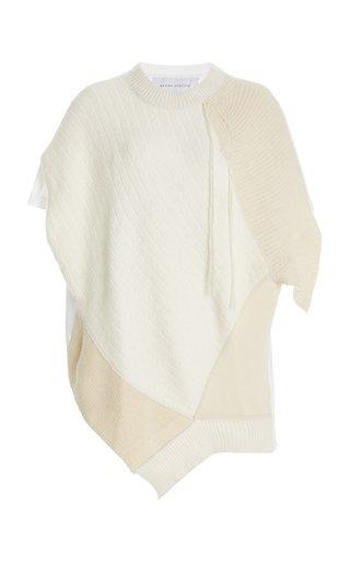 Asymmetric Mixed-Knit Cashmere-Silk Top
