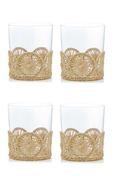 Set Of 4 Straw Glass Holder